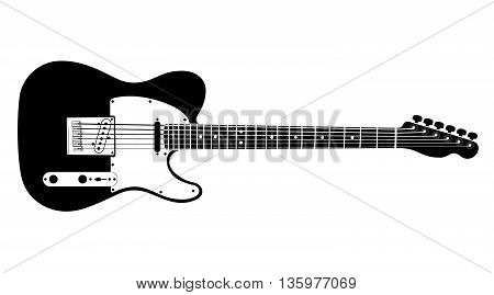 Black and white electric guitar on white background. Isolated stylish art. Modern grunge and rock style. Noir style. Telecaster.
