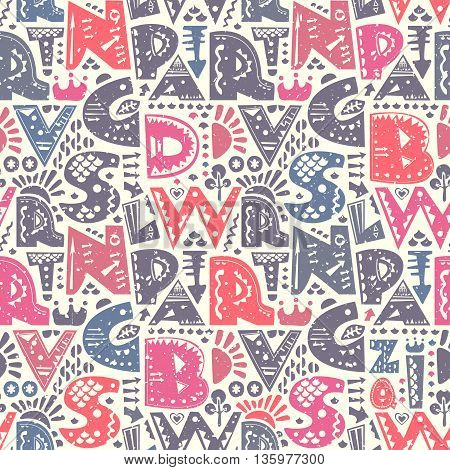 Retro seamless repeating pattern with alphabet letters and decorative shapes. Colorful vector background