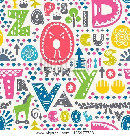 Colorful funny alphabet seamless pattern. Vector illustration