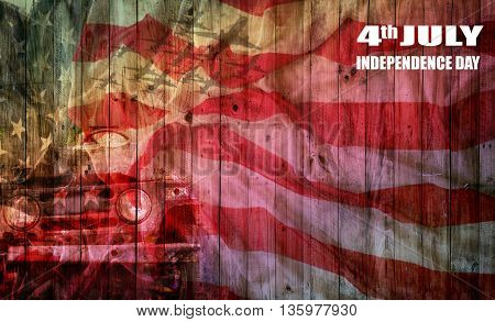usa flag on wooden plate background for 4th of July Independence Day