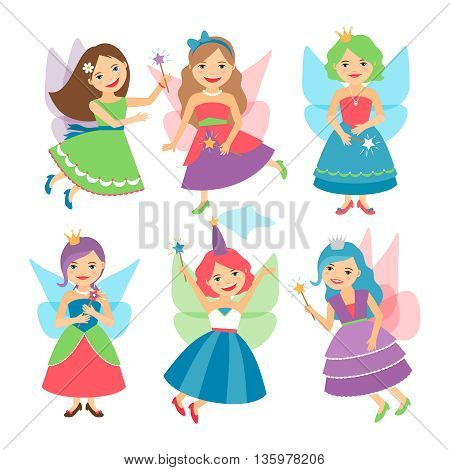 Little fairy girls whith wings and in ball dresses. Vector illustration