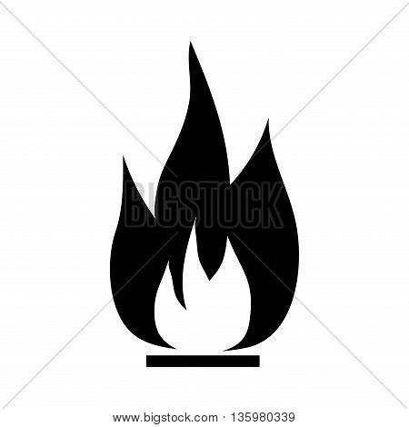 Fire sign. Open flame symbol. Monochrome icon isolated on white background. Bonfire flat mark. Camp-fire concept. Modern art scoreboard. Stock vector illustration