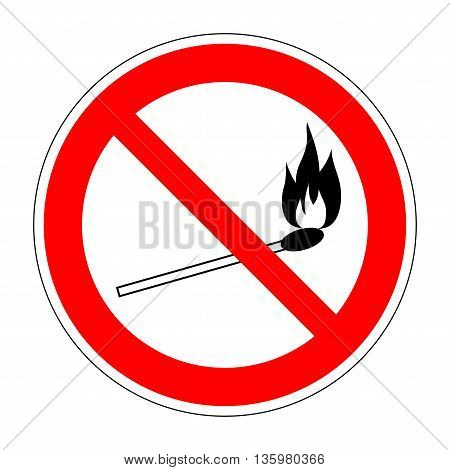 No fire match vector sign. Prohibition safety match symbol. Red icon on white background. No lucifer match sign. Stop fire. Stop symbol. Dont fire icon. Dangerous fire. Stock vector illustration
