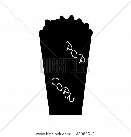 Sign popcorn. Monochrome food or fastfood plane image isolated on white background. Flat symbol for cinema. Modern art scoreboard. Prohibition mark with inscription. Stock vector illustration