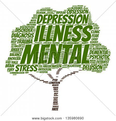Vector concept conceptual mental illness disorder management or therapy tree word cloud isolated on background, metaphor to health, trauma, psychology, help, problem, treatment or rehabilitation