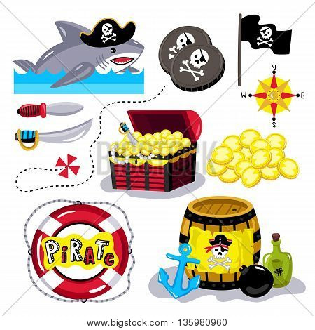 Cartoon pirate icons on white background for birthday or pirate party. Pirate concept illustration. Chest with gold, barrel gunpowder and bottle of rum. Cartoon shark in pirate hat. Pirate vector sign. Pirate cartoon concept and pirate cute symbols.