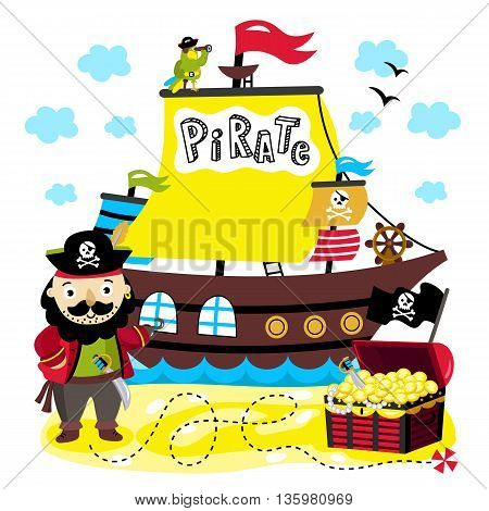 Cartoon pirate character. Pirate ship with pirate flag and inscription. Parrot on the mast. Treasure chest with path to treasure. Kids illustration. Fictional cartoon island. Roger. Pirate cartoon concept and pirate cute symbols.