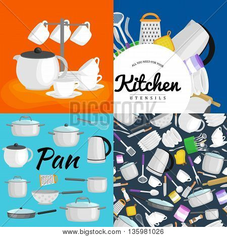 Kitchenware utensils set, Vector illustration of isolated kitchen utensil. Background with utensil, cook equipment, domestic tools for home. Kitchen tool collection vector illustration