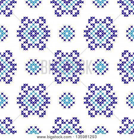 Seamless embroidered texture of abstract flat blue patterns, cross-stitch