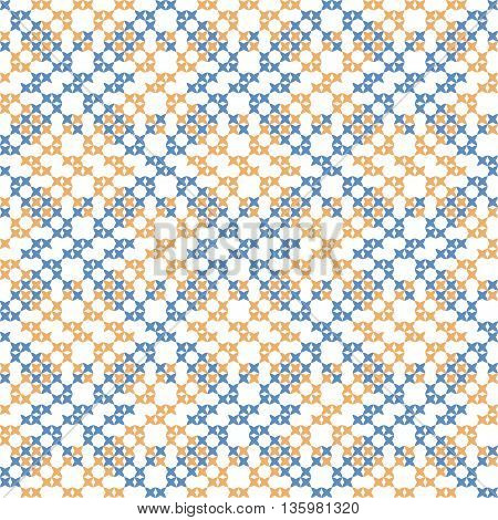 Seamless embroidered texture of abstract geometric flat blue and yellow patterns, cross-stitch