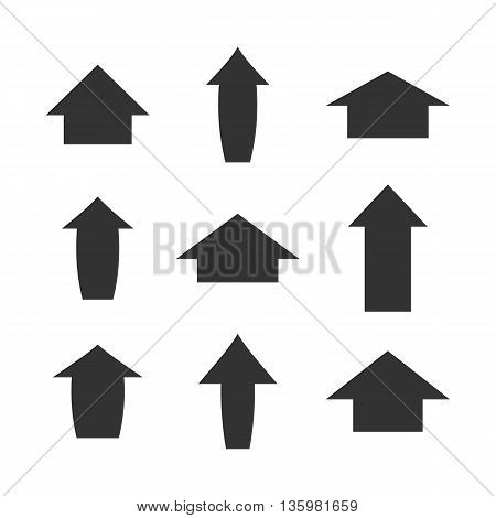 Set of gray arrows isolated on white background vector illustration.