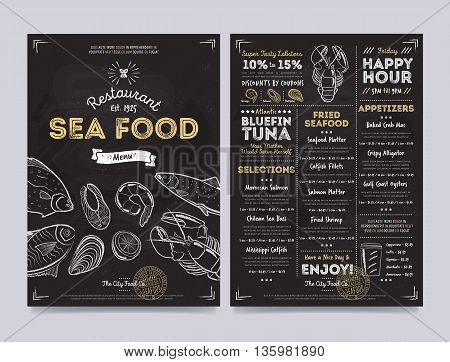 Seafood restaurant menu design on chalkboard. Seafood cafe menu. Seafood food menu template. Seafood restaurant flyer. Seafood cafe flyer. Hand drawings Seafood food elements on chalkboard. Vintage menu on chalkboard. Seafood menu card.