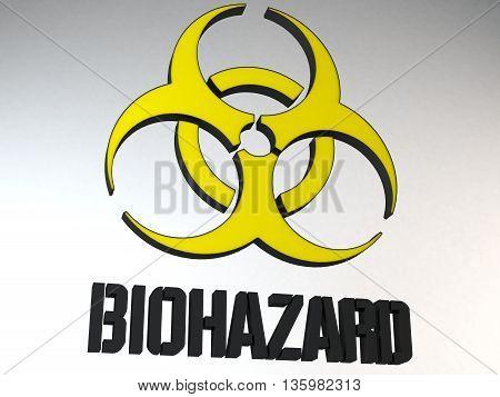 Biohazard Sign Symbol Shape 3D Render Illustration