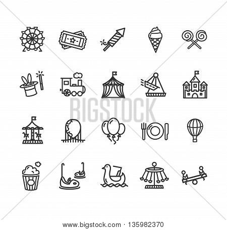 Amusement Park Outline Icon Set Isolated on White Background. Vector illustration