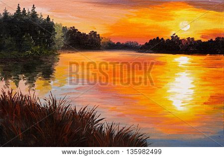 oil painting - lake in a forest sunset. abstract painting art work was performed in the style of Impressionism wallpaper watercolor