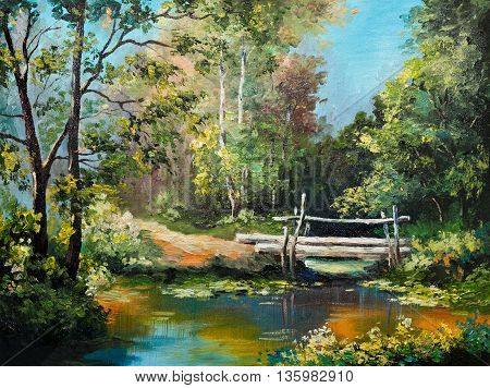 oil painting on canvas - bridge in the forest outdoor tree