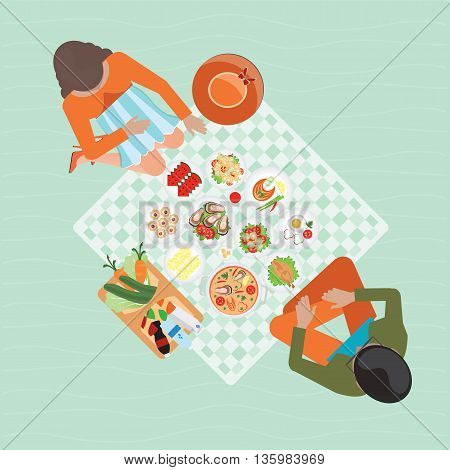 Top view of Happy couple picnic resting outdoors summer picnic happy lifestyle park together character vector illustration.