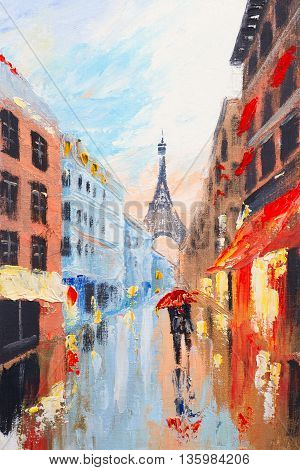 couple walking on the streets of Paris against the backdrop of the Eiffel Tower, abstract oil painting