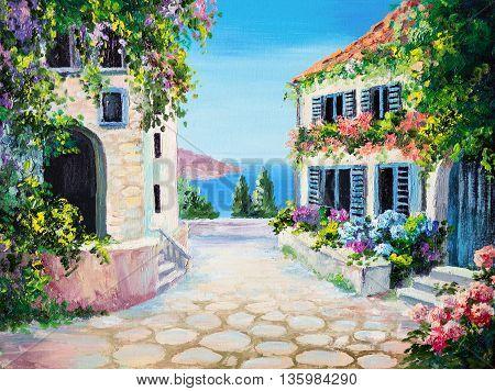 oil painting on canvas - house near the sea summer canvas greek