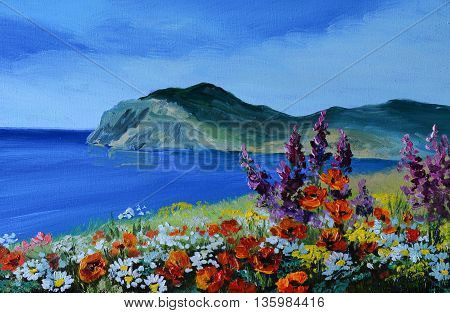 oil painting - mountain in the sea the sea coast abstract drawing field of flowers of lilac daisies and wildflowers summer