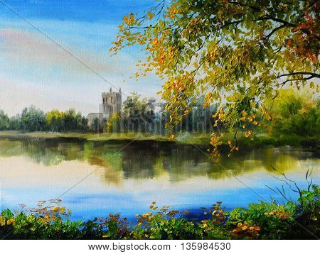Oil painting landscape - castle near lake tree over the water bright colors made in the style of Impressionism outdoor; wallpaper