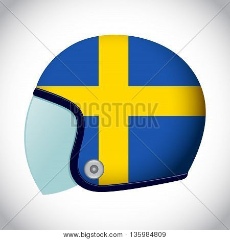 Vector stock of retro classic motorcycle helmet with Sweden flag