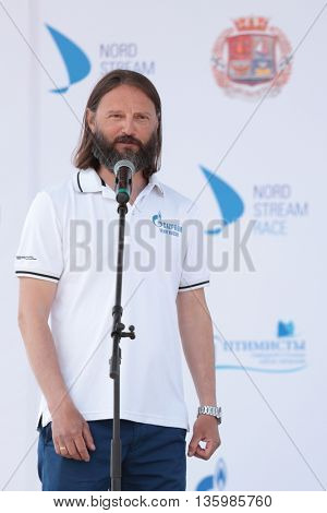 ST. PETERSBURG, RUSSIA - JUNE 4, 2016: Commodore of St. Petersburg yacht club Vladimir Lyubomirov during the opening ceremony of the Nord Stream Race. Five teams compete in the race this year