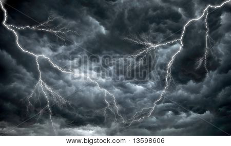 Dark, Ominous Rain Clouds And Lightening