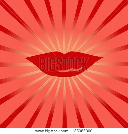 Red kissing and smiling cartoon lips isolated decorative for party presentation. Cartoon mouth giving a kiss, sunrise beams. Human body parts. Concept design card banner poster. Vector illustration