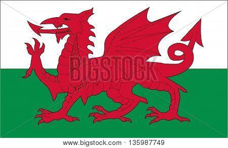 Original flag of wales illustration art design