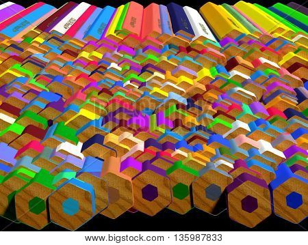 Background of large group of colored pencils. Colored pencils butt end. 3d render.