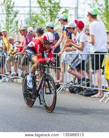 Utrecht, Netherlands - 04 July 2015: The French cyclist Tony Gallopin of Lotto-Soudal Team riding during the first stage (individual time trial ) of Le Tour de France 2015 in UtrechtNetherlands on 04 July 2015.
