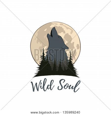 Wolf howling on the moon in the forest. Logo template. Vector illustration.