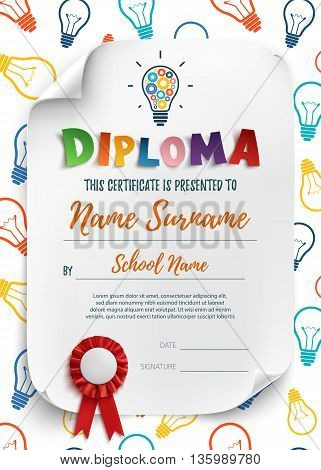 Diploma template for kids, school, preschool, playschool, certificate background wit colorful light bulbs. Vector illustration.