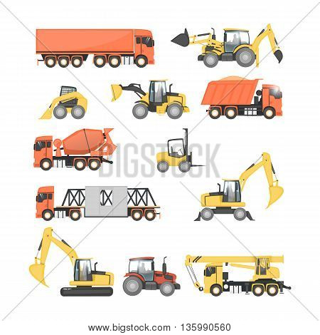 Set of heavy construction machines. Tractor, truck, dump truck, excavator. Flat design vector illustrations.