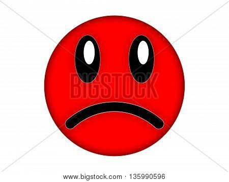 Red angry face on a white background