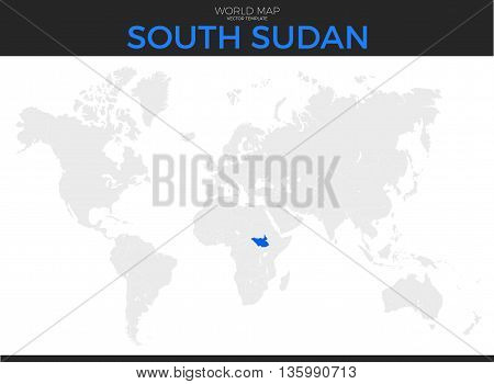 Republic of South Sudan location modern detailed vector map. All world countries without names. Vector template of beautiful flat grayscale map design with selected country and border location