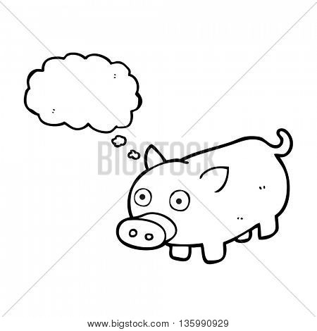 freehand drawn thought bubble cartoon piglet
