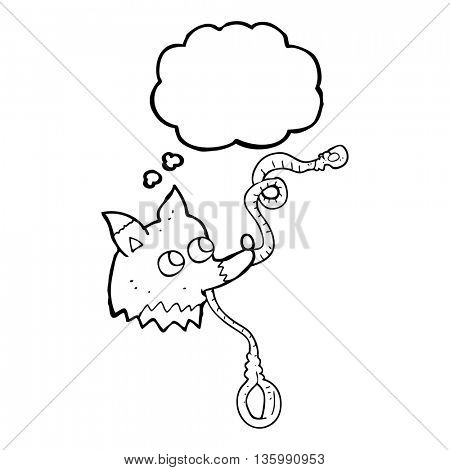 freehand drawn thought bubble cartoon dog with leash