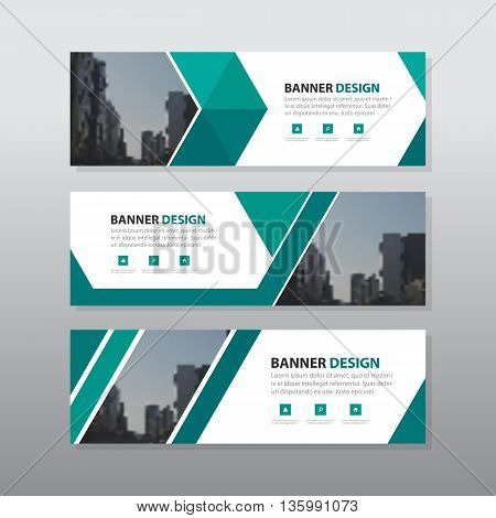 Green triangle abstract corporate business banner template horizontal advertising business banner layout template flat design set clean geometric abstract cover header background template for website design