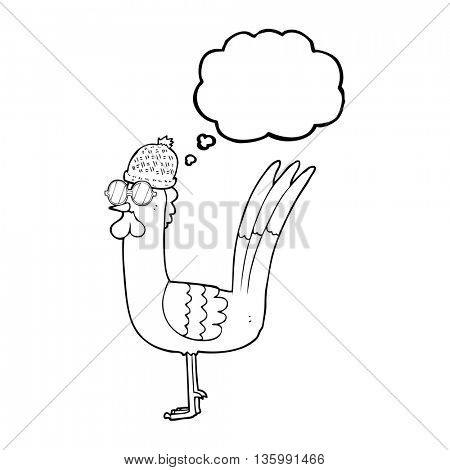 freehand drawn thought bubble cartoon chicken wearing spectacles and hat