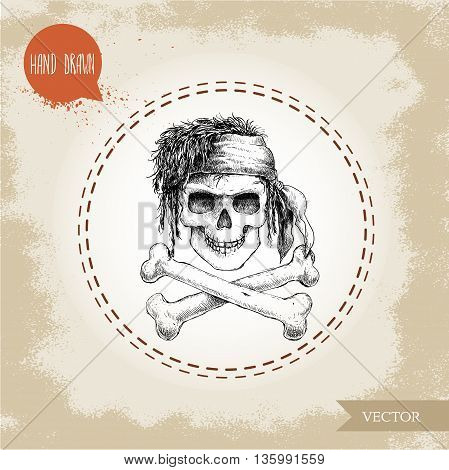 Hand drawn sketch style human skull with dreads bandanaand bones. Pirate symbol. Jolly Roger. Vintage style illustration.