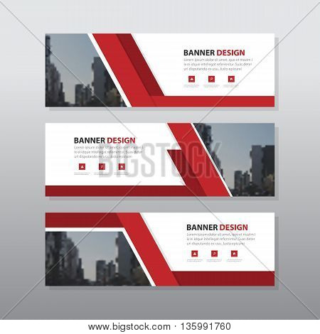 Red abstract corporate business banner template horizontal advertising business banner layout template flat design set clean geometric abstract cover header background template for website design