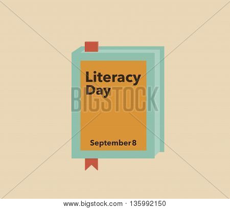 Literacy day banner, September 8th. Illustration of a book