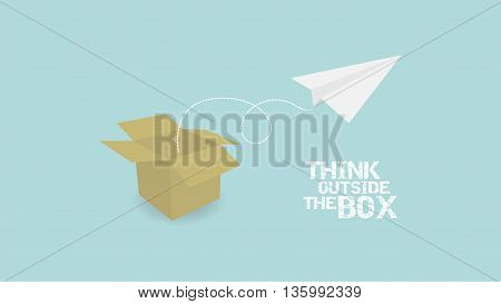 Think Outside Of Box concept. paper palne and paper box vector
