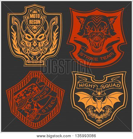 Stickers and patches for bikers - vector set