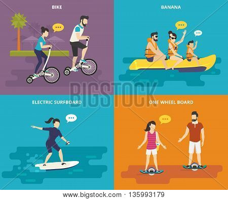 Family with kids concept flat icons set of riding bicycle, riding banana in the sea with children, surfing the wave on electrical surfboard and electric onewheel boarding. Active family time spending