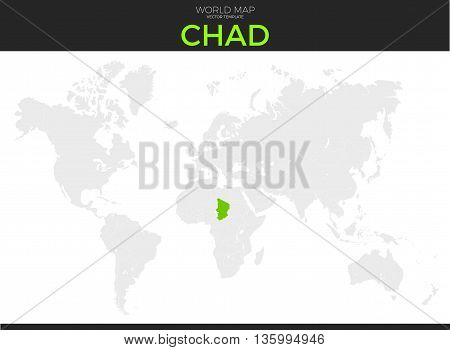 Republic of Chad location modern detailed vector map. All world countries without names. Vector template of beautiful flat grayscale map design with selected country and border location