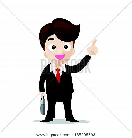 Business man cartoon smile and showing the finger point with confidence vector illustration eps10 isolated on the white background