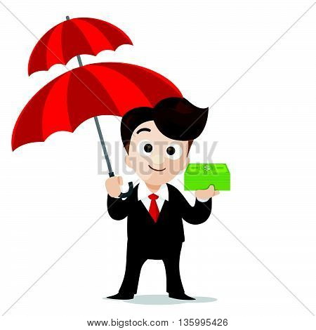 Business protection concept business man cartoon smile holding umbrella and money in hand with vector illustration eps10 isolated on white background